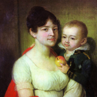 Portrait of an unknown with a child