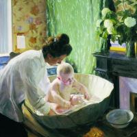 Утро. Изображены Юлия Евстафьевна Кустодиева, жена художника, с сыном-первенцем Кириллом
