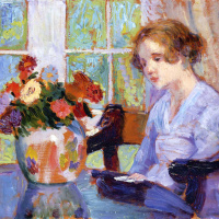 The girl in front of a vase with flowers