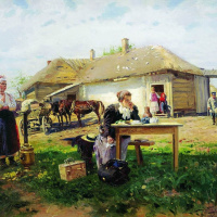 The arrival of the teacher in the village