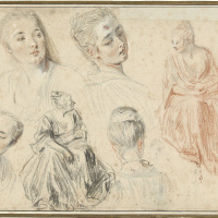 Four Studies of a Woman's Head and Two of a Seated Woman