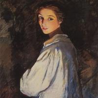 Zinaida Evgenievna Serebryakova. A girl with a candle. Self portrait