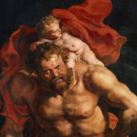 Питер Пауль Рубенс. Снятие с креста (фрагмент, обратная сторона левой створки - Св.Христофор несёт Младенца Христа)