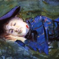 Джон Сингер Сарджент. Дама в фиолетовом отдыхает на траве