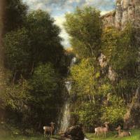 Гюстав Курбе. Семья оленей и пейзаж с водопадом