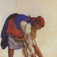 "Zinaida Evgenievna Serebryakova. A farmer, ristiluoma canvas. Sketch for the first (unfinished) version of the painting ""the bleaching of the canvas"""