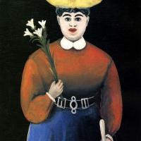 Женщина с ирисами и зонтом