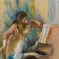 Two girls at the piano. Sketch