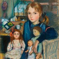Дочка Катя с куклами