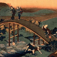 Кацусика Хокусай. Пересечение арочного моста