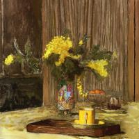 Жан Эдуар Вюйар. Букет с мимозой на столе