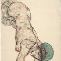 Эгон Шиле. Обнажённая в зелёной шапочке