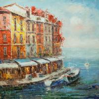 Christina Viver. Boats at the restaurant promenade