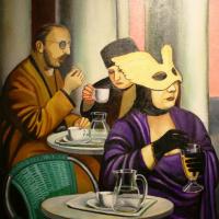 Кафе. Женщина без маски