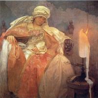 Альфонс Муха. Женщина с горящей свечой
