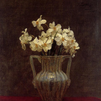 Анри Фантен-Латур. Нарциссы в стеклянной вазе