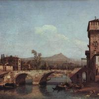 Венецианское каприччио: река, мост и средневековые городские ворота