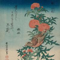 Утагава Хиросигэ. Японский сорокопут и чертополох