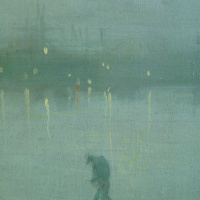 James Abbot McNeill Whistler. Nocturne in blue and gold. The old bridge at Battersea. Fragment