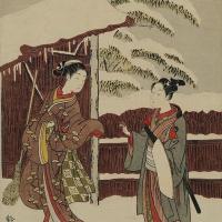 Молодая пара у ворот в снегу