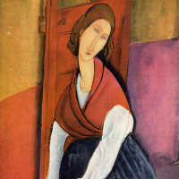 Jeanne hébuterne, seated in front of the door