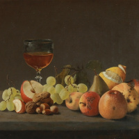 Отто Дидрик Оттесен. Натюрморт с яблоками, грушей и орехами