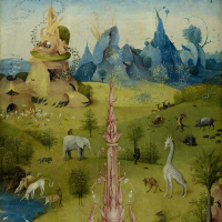The garden of earthly delights. Left wing. Fragment