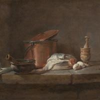 Натюрморт. Кухонная утварь с луком-пореем, рыбой и яйцами