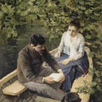 В лодке. Изображены Константин Алексеевич Коровин и художница Мария Васильевна Якунчикова