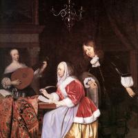 Молодая женщина, сочиняющая музыку