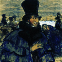 Борис Михайлович Кустодиев. А.С.Пушкин на набережной Невы