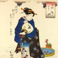 """Утагава Куниёси. Серия """"Избранные насекомые"""". Муравьи. Женщина с веером у бассейна с золотыми рыбками"""