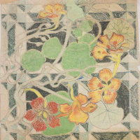 Stanislav Wyspianski. Design for the Franciscan wall paintings (a floral motif - nasturtiums)