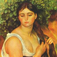 Pierre Auguste Renoir. Girl zaplatila hair (Suzanne Valadon)