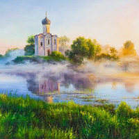Church of the Intercession on the Nerl. On a foggy morning