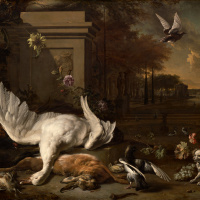 Натюрморт с мёртвым лебедем и битой дичью на фоне поместья