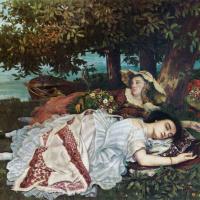 Гюстав Курбе. Девушки, отдыхающие на берегу Сены