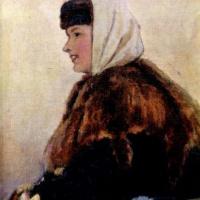Василий Иванович Суриков. Портрет молодой женщины в шубе с муфтой