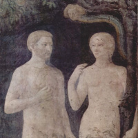 The temptation of Adam and eve. Brancacci chapel in Santa Maria del Carmine in Florence
