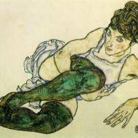 Egon Schiele. Reclining woman in green stockings