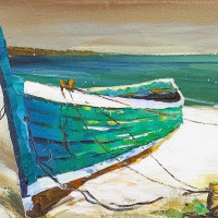 Boat on the sandy shore
