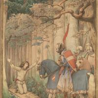 """Эдуард фон Штейнле. Парцифаль встречает рыцарей в лесу (""""Призвание Парцифаля"""")"""
