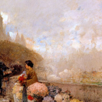 Девушка с цветами возле Сены, Париж