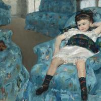 Мэри Кассат. Маленькая девочка в синем кресле