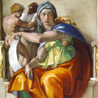 The Delphic sibyl. A fragment of the painting of the Sistine chapel ceiling