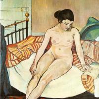 Сюзанна Валадон. Обнаженная женщина с полосатым одеялом