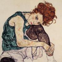 Эгон Шиле. Женщина, сидящая с согнутым коленом