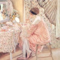 Девушка в розовом с зеркалом