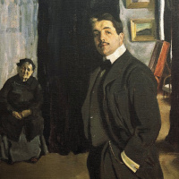 Portrait of Sergei Pavlovich Diaghilev with his nanny