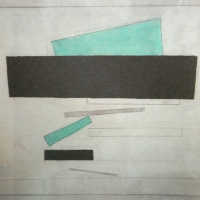 Suprematist composition with a black rectangle